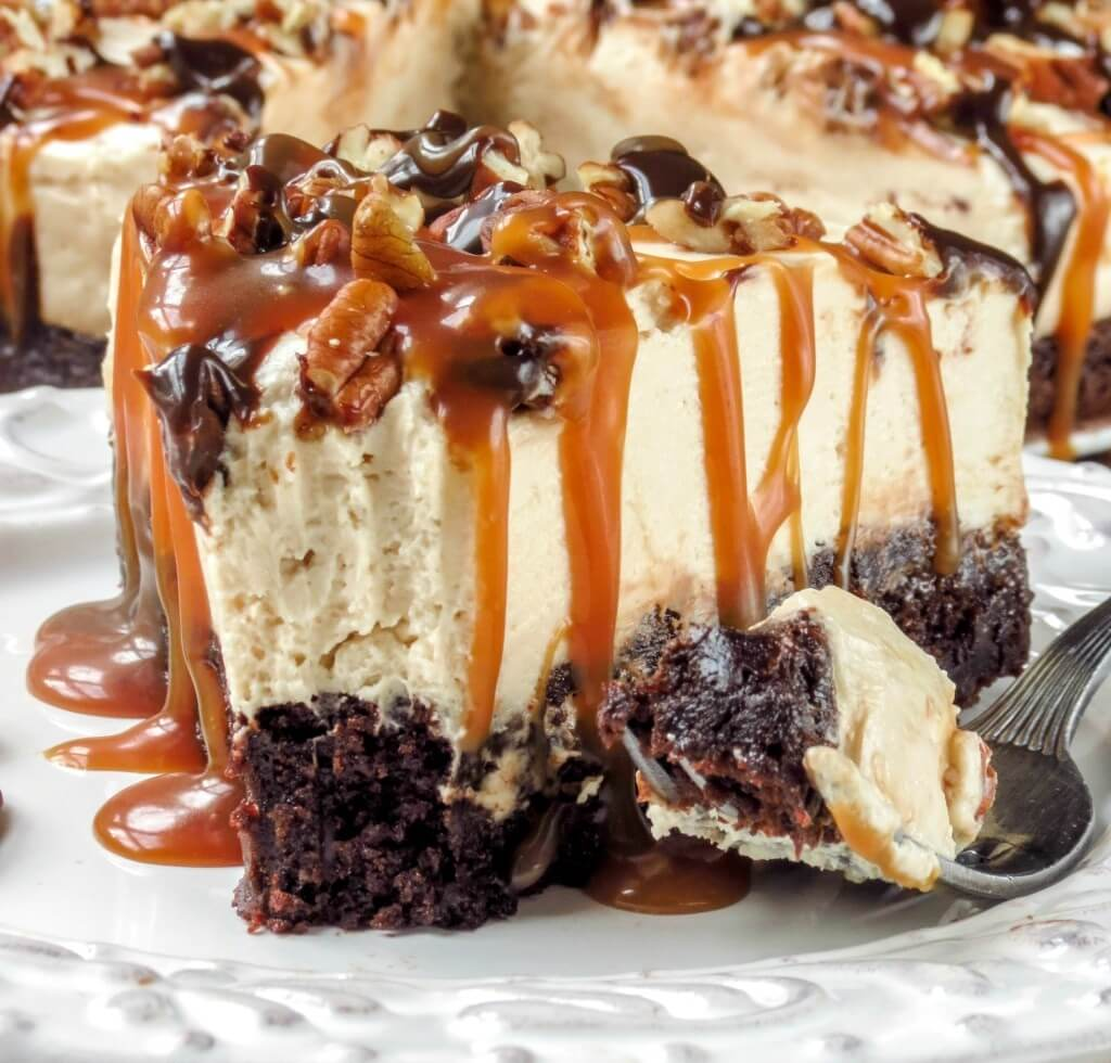 16. No-Bake Caramel Turtle Cheesecake