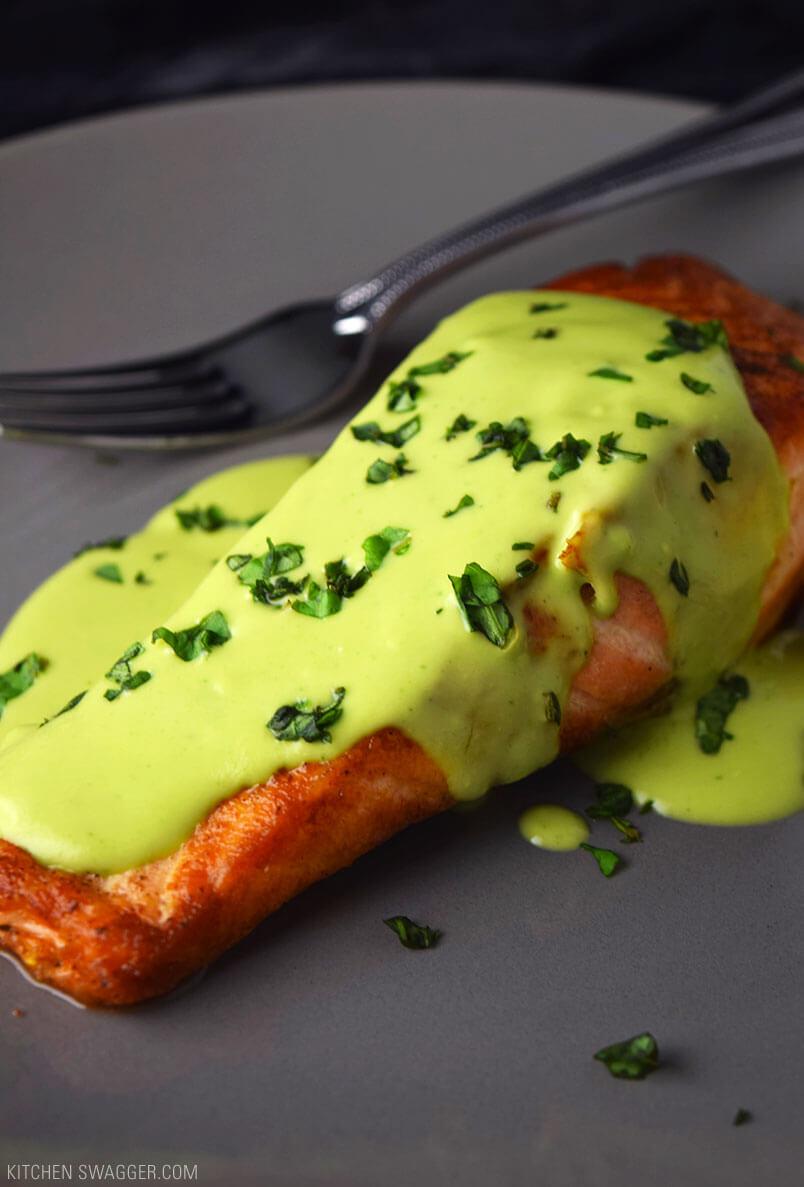 #20 Pan-Seared Salmon with Creamy Avocado Sauce