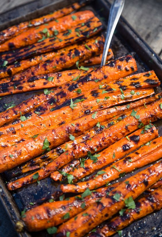 Grilled Carrots with a Honey Brown Sugar Glaze